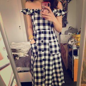 Reformation b&w off-shoulder maxi dress